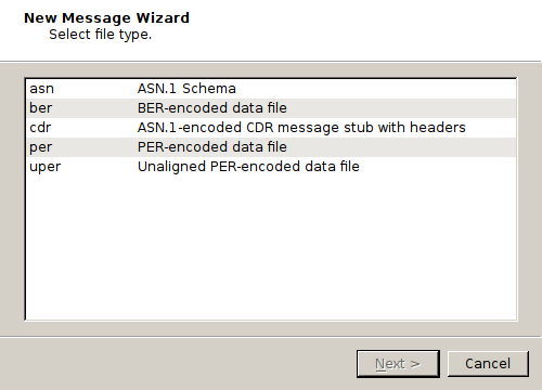 Open an Existing Message File or ASN 1 Schema